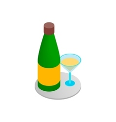 Champagne and glass 3d isometric icon vector