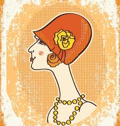 vintage woman fashion vector image