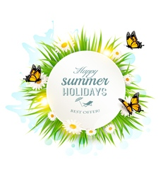 Appy summer holidays banner with grass and vector