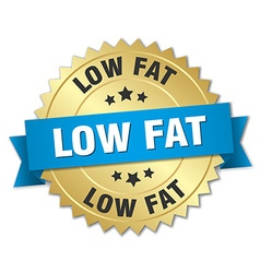 Low fat 3d gold badge with blue ribbon vector