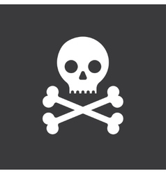 skull and crossbones icon on a black background vector image