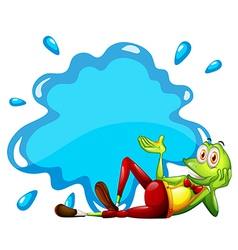 A frog beside the empty template vector image vector image