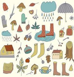 Autumn Elements Set with umbrellamushrooms acorns vector image