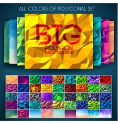 Big set of polygonal colorful backgrounds vector