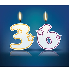 Birthday candle number 36 vector image