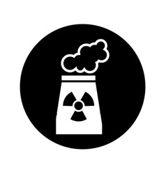 Chimney nuclear plant isolated icon vector