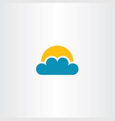 Cloud and sun icon clip art vector