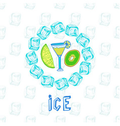 cocktail sketches with kiwi and lime ice frame vector image