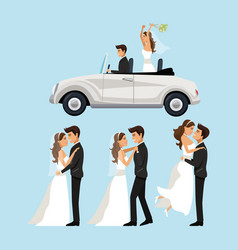color background with scenes of newly married vector image vector image