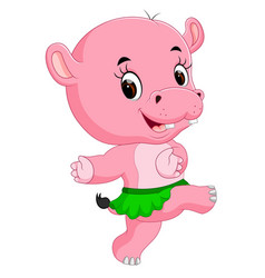 cute hippo dancing vector image