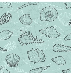 Decorative seamless pattern of sea shells vector image