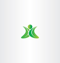 eco green leaf man logo yoga sign vector image vector image