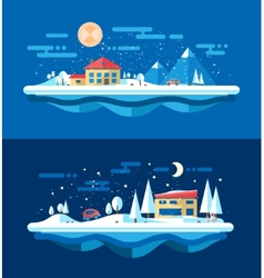 flat design urban winter landscape compositions vector image