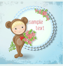 girl in the suit of a teddy bear with a rose vector image vector image