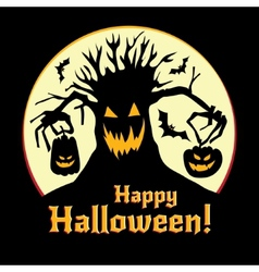 Halloween - pumpkins and old tree vector image vector image
