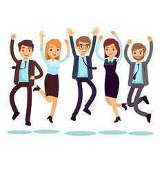 Happy and smiling workers business people jumping vector