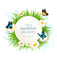 Happy summer holidays banner with grass and vector image