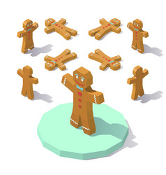 low poly gingerbread man vector image