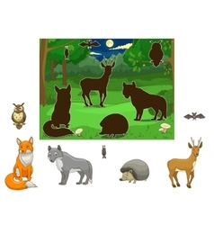 Match the animals to their shadows vector image