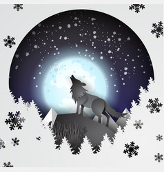 paper art and craft of wolf on mountian vector image