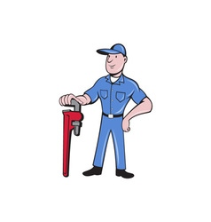 Plumber standing pipe wrench cartoon vector