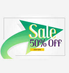 Promotional sale poster background with green vector