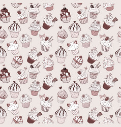 seamless background with doodle sketch cupcakes in vector image