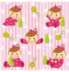 Seamless pattern with baby girl vector