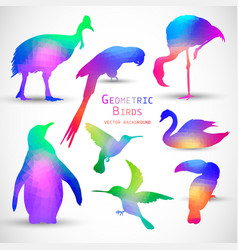 Set of colorful geometric silhouettes birds vector