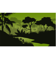 Silhouette of jungle with river landscape vector