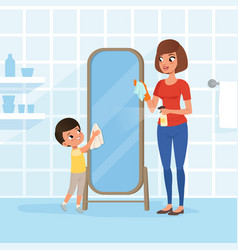 Smiling little boy helping his mother at housework vector