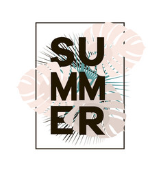 Summer text in black frame with tropical leaves on vector