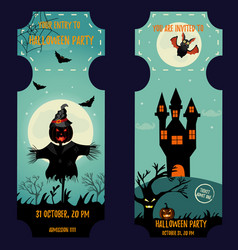 ticket halloween party invitation template vector image vector image