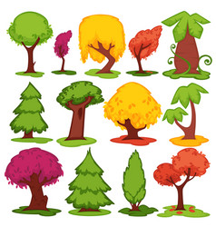 Trees flat icons coniferous deciduous vector