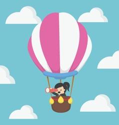 Businesswoman in hot air balloon eps10 vector