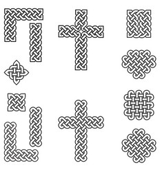 Celtic style endless knot symbols in black white vector