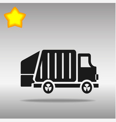 black garbage truck icon button logo symbol vector image
