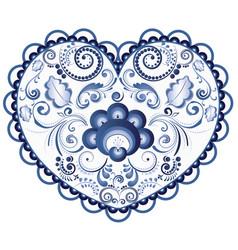 Blue floral heart vector