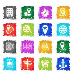 navigation transport map icon set vector image