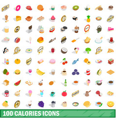 100 calories icons set isometric 3d style vector image