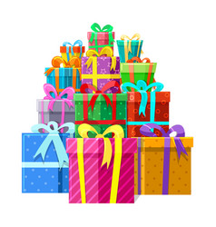 Gifts or presents boxes pile vector