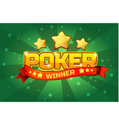 Logo text poker and gold star for ui game element vector