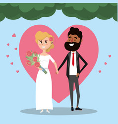 couple married with heart and bouquet flowers vector image