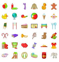 Childhood play icons set cartoon style vector