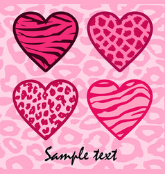 Pink animal print hearts vector