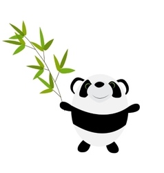 Cute little panda with bamboo leaves vector