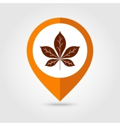 Autumn leaves mapping pin icon vector