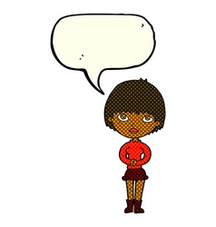 Cartoon woman waiting patiently with speech bubble vector
