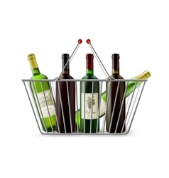 Metallic shopping basket with wine pictogram vector