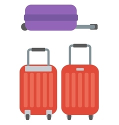 Modern large suitcases on wheels vector